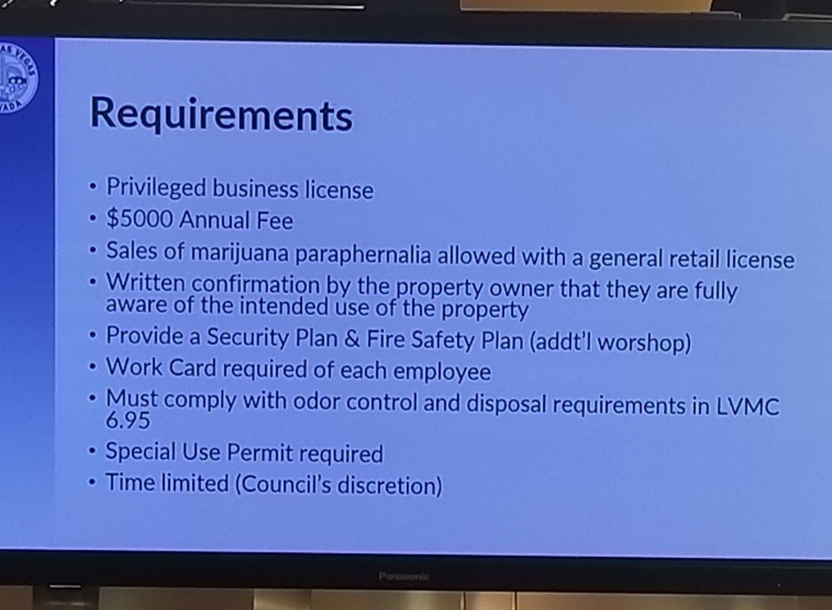 City of Las Vegas requirements slide